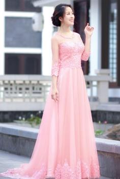 Áo dài cưới Hoàng Gia hồng