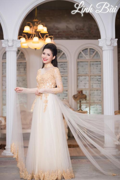 Áo dài cưới hoàng gia màu vàng cho nét đẹp qúy tộc