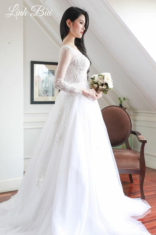 Váy cưới dài tay cho cô dâu thanh lịch