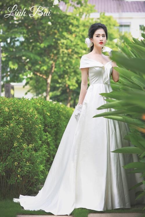 Váy cưới cao cấp được may với chất vải trơn hiện đại