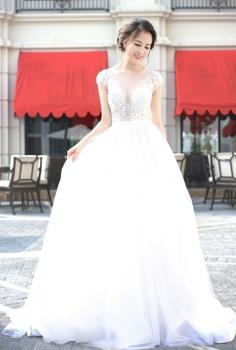 Đầm dạ hội cưới dáng xòe tiểu thư