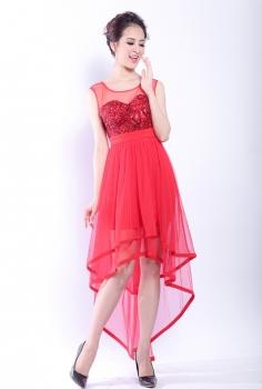 Đầm dạ hội đỏ phối voan lưới điệu đà