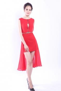Đầm dạ hội đỏ vạt dài kéo khóa ngực