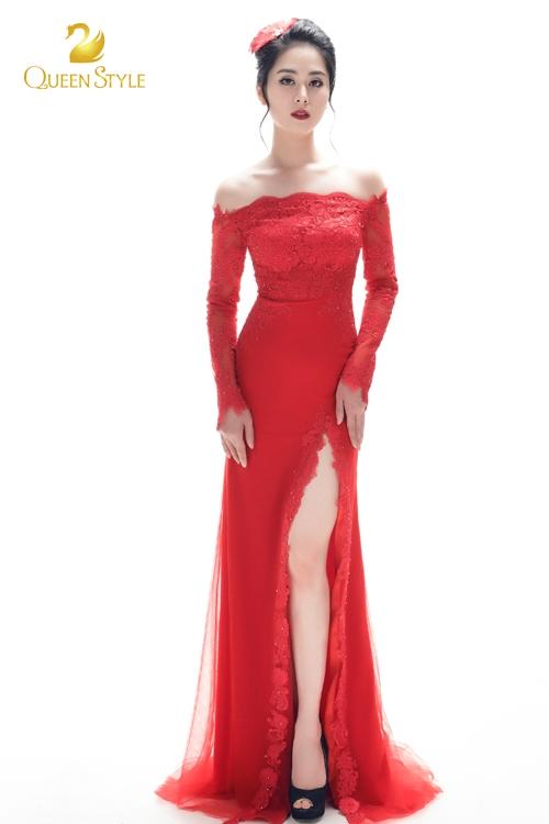 Đầm dạ hội kết ren sang trọng với vai trễ gợi cảm, quyến rũ