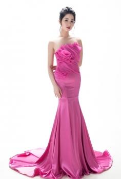 Đầm dạ hội hồng xếp ly dáng hoa đẳng cấp