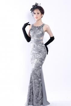 Đầm dạ hội màu ghi đuôi cá kết kim sa gợi cảm