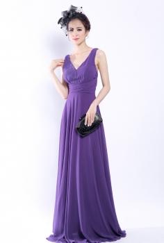 Đầm dạ hội màu tím xếp ly dáng suông thanh cao