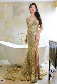 Đầm dạ hội sequin cup ngực vàng đồng tinh tế