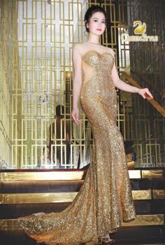 Đầm dạ hội sequin vàng đồng bắt mắt