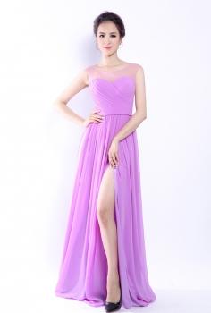 Đầm dạ hội tím nhạt duyên dáng xẻ chân điệu đà