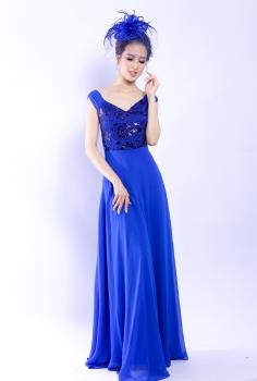 Đầm dạ hội xanh cổ V kết hoa cầu kì