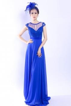 Đầm dạ hội xanh kết giọt nước đính kim sa hình lá