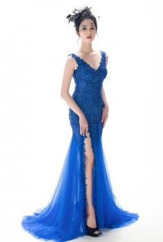 Đầm dạ hội xanh kết ren hoa đính kết pha lê