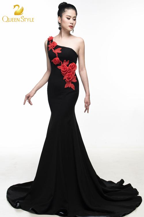 Đầm dạ hội thiết kế lệch vai kiểu dáng đơn giản