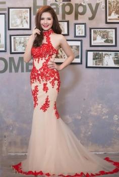 Đầm dạ hội đỏ đắp ren độc đáo