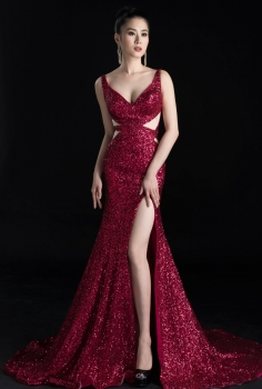 Đầm dạ hội đỏ rượu vang cúp ngực quyến rũ