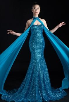 Đầm dạ hội màu xanh sequin cúp ngực gợi cảm