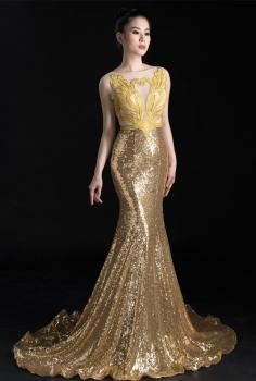 Đầm dạ hội sequin thêu công quý phái