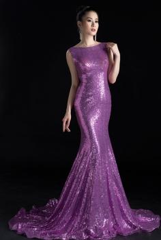 Đầm dạ hội sequin tím đổ lưng gợi cảm