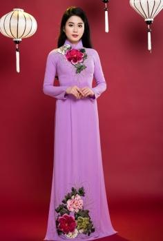 Áo dài dự tiệc màu tím thêu hoa hồng đính pha lê