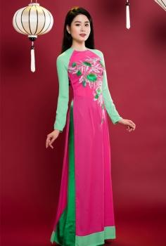 Áo dài truyền thống màu hồng tay xanh lá