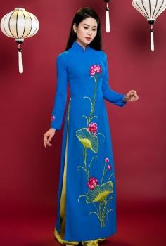 Áo dài truyền thống màu xanh dương hoa sen hồng cách điệu