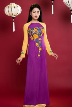 Áo dài truyền thống pha màu nghệ thuật Tím Cam