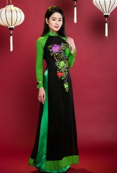 Áo dài truyền thống phối màu nghệ thuật xanh đen