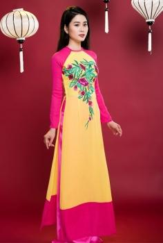 Áo dài truyền thống phối màu Vàng Hồng thêu hoa nghệ thuật