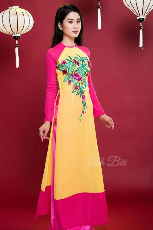 Áo dài truyền thống phối màu nghệ thuật đậm chất hiện đại