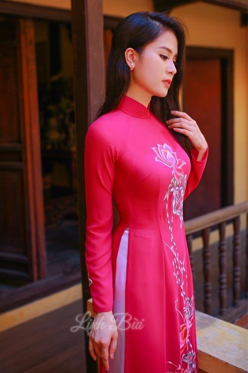 Áo dài hồng vải lụa cao cấp