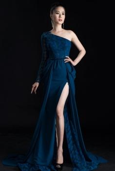 Đầm dạ hội cao cấp  họa tiết độc đáo xẻ chân quyến rũ