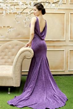 Đầm dạ hội tím đổ lưng quyến rũ