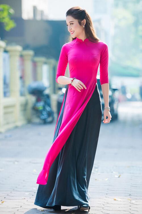 Á hậu Huyền My với áo dài màu hồng cánh sen