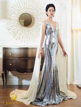 Đầm dạ hội lấp lánh sequin bạc thiết kế phần vai ấn tượng