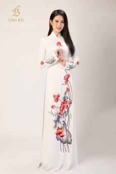 Áo dài thêu trắng thêu hoa sen đỏ đẹp tinh tế